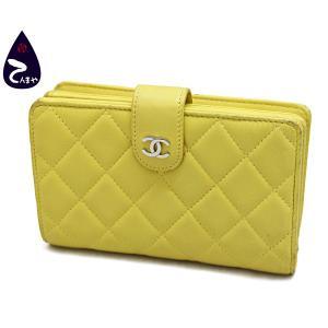シャネル ラムスキン(イエロー) マトラッセ タイムレスクラシック 二つ折り財布 型番:A48667|tenmaya78