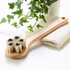 茶馬毛&白馬毛のボディブラシ(江戸の伝統ブラシ職人が作った天然素材100%のボディブラシ)|tennen-sponge