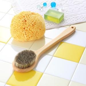 天然素材のボディブラシ(日本製)  馬毛・ヒノキ・長さ:35cm ロングタイプ|tennen-sponge
