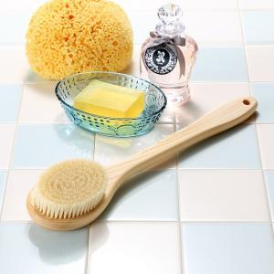 天然素材のボディブラシ (日本製) 豚毛・ヒノキ・長さ35cm ロングタイプ |tennen-sponge