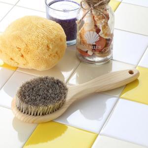 ボディブラシ (馬毛・長さ35cm) と天然海綿スポンジ (ソフトシルク種) のお買得セット|tennen-sponge