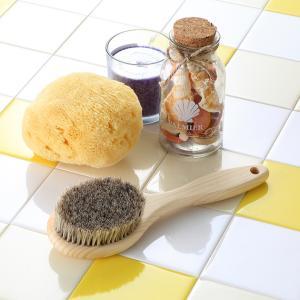 ボディブラシ (馬毛・長さ24cm) と天然海綿スポンジ (ソフトシルク種) のお買得セット|tennen-sponge