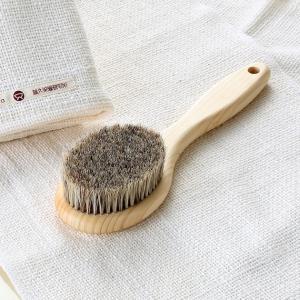 ボディブラシ 天然毛 馬毛 長さ24cmと地中海産天然海綿スポンジのお買得セット|tennen-sponge|02