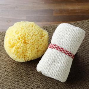 和紡布・あら織りタオルと天然海綿ボディスポンジのお買得セット|tennen-sponge