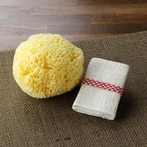 和紡布・化粧落とし/タオルハンカチ(2枚組)と天然海綿ボディスポンジのお買得セット|tennen-sponge