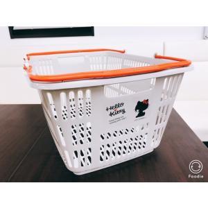 カゴ 買い物かご バスケット 3個 ハローキティマイバスケット 33Lナチュラルホワイト取手黒 現在...
