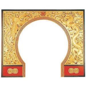 商品名:AW-2003 中国の門 龍と鳳凰 両面透かし木彫 寸法:幅3050mm×奥行2440mm ...