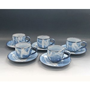 【萩焼 コーヒー碗皿セット】 萩藍珈琲器5客<SE7-18>|tenryu