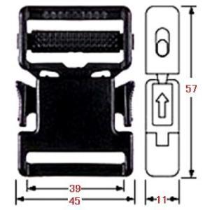 樹脂バックルLB−38S黒 10ケ/セット (DM便可) tenten-tent 02