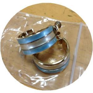 2色ガラス加工 リング型イヤリングゴールド|tentoumusi-recycle