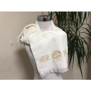 フランス製 刺繍入りニットマフラー白|tentoumusi-recycle