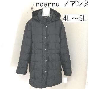 ノアンヌ 大きいサイズ フード付きダウン風ジャケット黒 23ABR|tentoumusi-recycle