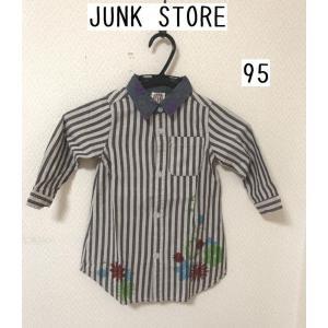 JUNK STORE ストライプシャツワンピース95 ブラウン 押し花風 tentoumusi-recycle