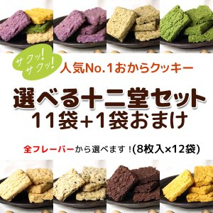 送料無料 豆乳おからクッキー 選べる11+おまけ1袋 バター マーガリン 卵 不使用 / 保存料 香料 無添加