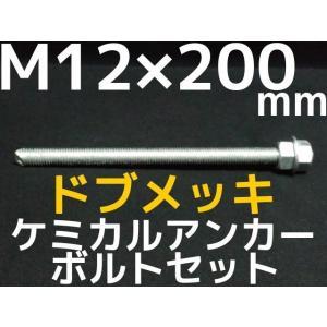 ケミカル アンカーボルト セット ドブメッキ M12×200mm 寸切ボルト1本 ナット2個 ワッシャー1個 Vカット 両面カット「取寄せ品」 tenyuumarket