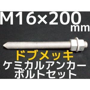 ケミカル アンカーボルト セット ドブメッキ M16×200mm 寸切ボルト1本 ナット2個 ワッシャー1個 Vカット 両面カット「取寄せ品」 tenyuumarket