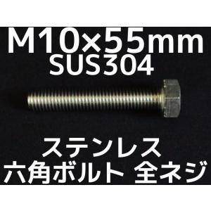 ステンレス 六角ボルト 全ネジ M10×55mm SUS304 ステン六角ボルト「取寄せ品」「サイズ交換/キャンセル不可商品」 tenyuumarket