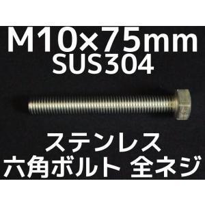 ステンレス 六角ボルト 全ネジ M10×75mm SUS304 ステン六角ボルト「取寄せ品」「サイズ交換/キャンセル不可商品」 tenyuumarket