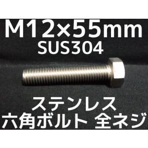 ステンレス 六角ボルト 全ネジ M12×55mm SUS304 ステン六角ボルト「取寄せ品」「サイズ交換/キャンセル不可商品」 tenyuumarket