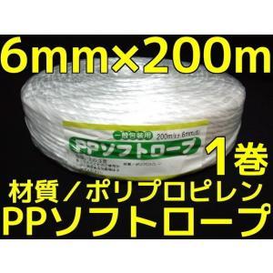 PP ソフトロープ 白 6mm×200m softrope ロープ 1巻 1個 PPロープ ビニールひも ビニールロープ「取寄せ品」|tenyuumarket