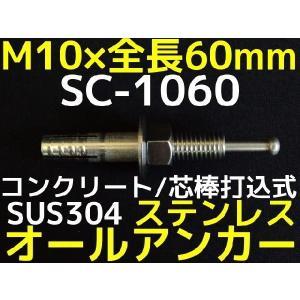 サンコーテクノ オールアンカー SC-1060 M10×60mm 1本 ステンレス製 SUS304系 コンクリート用 芯棒打込み式「取寄せ品」|tenyuumarket