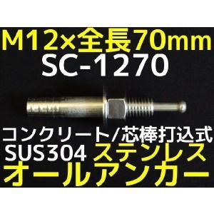 サンコーテクノ オールアンカー SC-1270 M12×70mm 1本 ステンレス製 SUS304系 コンクリート用 芯棒打込み式「取寄せ品」|tenyuumarket
