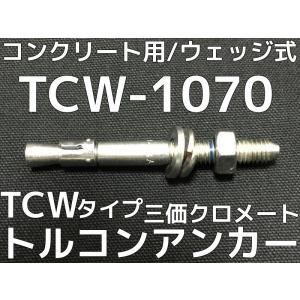 サンコーテクノ トルコンアンカー TCW-1070 M10 全長70mm 30本 スチール製 三価クロメート処理 コンクリート用 ウェッジ式 締付方式 平行拡張型「取寄せ品」|tenyuumarket