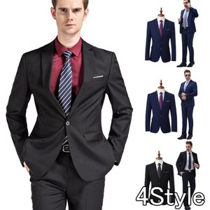 ダブルスーツ ビジネススーツ 1ボタン 2ピーススーツ メン...