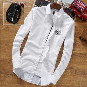長袖シャツ 白シャツ カジュアルシャツ メンズ 長袖 犬柄 ...