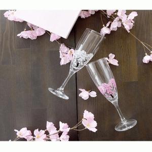冷感桜 シャンパングラス ペアセット 温度で変化する 酒器 桜 丸モ高木陶器 プレゼント ギフト グラス コップ 桜|teppa