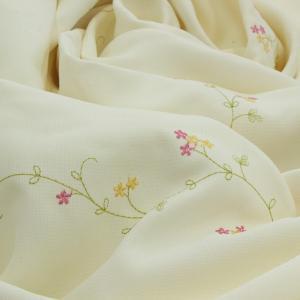 刺繍 小花柄 ナチュラル 可愛い カーテン生地 カット売り カリーノDE5049IV 10cm単位販売