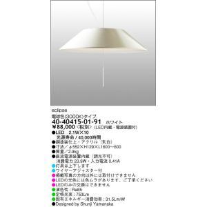40-40415-01-91 RayLightingProducts  eclipsエクリプス ワイヤー吊ペンダント [LED電球色][ホワイト] マックスレイ|terukuni