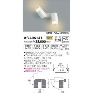 AB40614L   フランジタイプスポットライト [LED電球色] コイズミ照明|terukuni