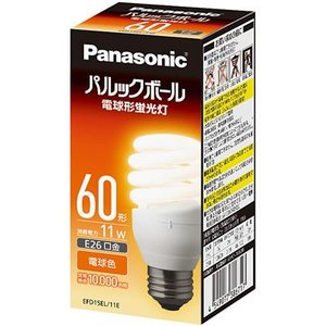 EFD15EL11E パルックボールD形 60ワットタイプ 電球形蛍光灯 [E26口金][蛍光灯電球色] パナソニック terukuni