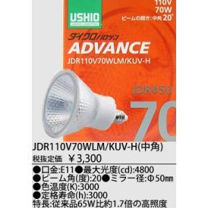 JDR110V70WLMKUVH USHIO ダイクロハロゲン ADVANCE(アドバンス)  110V用E11口金 Φ50mm 70W (中角) JDR110V70WLM/KUV-H
