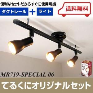 MR719-SPECIAL06 ワンタッチダクトレール ブラック E26LEDランプ スポットライト 3個セット [LED電球色][E26] あすつく てるくにオリジナルセット terukuni