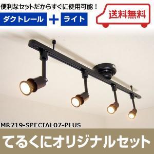 MR719-SPECIAL07-PLUS ワンタッチ簡易式ダクトレール ブラックダイクロハロゲン形調光対応電球色LED スポットライト4個  あすつく てるくにオリジナルセット terukuni