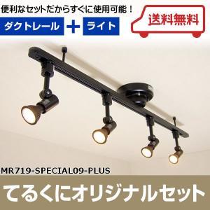 MR719-SPECIAL09-PLUS ワンタッチ簡易式ダクトレール ブラックダイクロハロゲン形調光対応電球色LED スポットライト4個  あすつく てるくにオリジナルセット terukuni