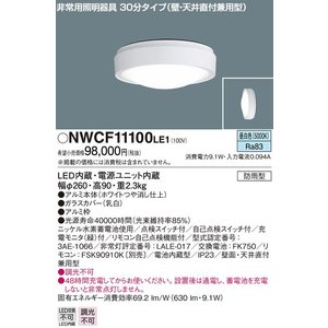施設照明壁面・天井直付兼用型防雨型非常用照明器具[LED昼白色][30分タイプ]NWCF11100LE1|terukuni