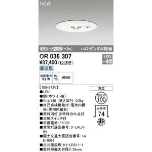 OR036307 低天井・小空間用(〜3m) 埋込型Φ100 非常灯 [LED昼白色] オーデリック|terukuni