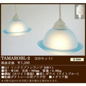 配線ダクトレール用ペンダントイタリア製ライトブルー色消しガラス配線ダクトレール用コード吊ペンダント2台セット [白熱灯]TAMAROBL-2|terukuni