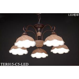 TER015-C5-LED テラコッタシリーズ 陶器グローブ5灯 イタリア製チェーン吊シャンデリア  [LED電球色] アカネライティング terukuni