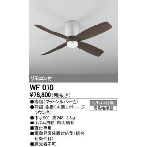 WF070 オーデリック DCモーターファン  シーリングファン本体  [マットシルバー]|terukuni