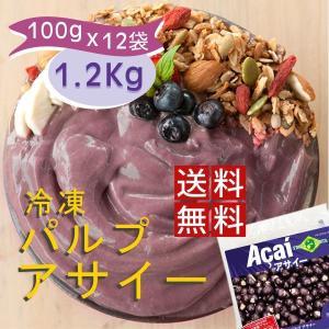 冷凍アサイー 1.2Kg (100g×12袋) 送料無料 3個セット アサイーパルプ(アサイーピュー...