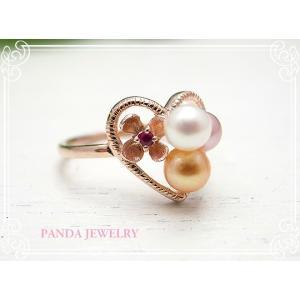 指輪 てんこ盛りパールリング ピンクゴールドカラー 11号 //PANDA JEWELRY|tesorocoltd