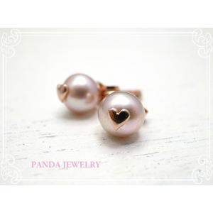 ラブリーハートのプチパールピアス ピンクゴールドカラー イヤリング // PANDA JEWELRY|tesorocoltd