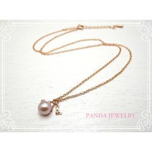 シンデレラパール ネックレス ダイヤハート(ピンクゴールドカラー) //PANDA JEWELRY|tesorocoltd