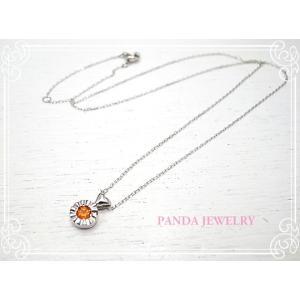 K10WG キラキラハートのネックレス オレンジガーネット ホワイトゴールド ペンダント //PANDA JEWELRY|tesorocoltd
