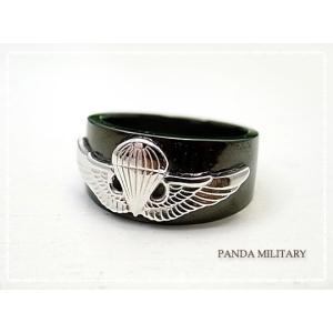 メンズ 空挺 リング(ブラック) PANDA MILITARY ミリタリージュエリー|tesorocoltd