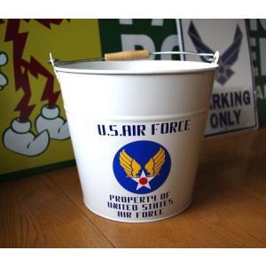 U.S. AIR FORCE バケツ(ホワイト) ミリタリー エアフォース アメリカ雑貨 アメリカン雑貨|texas4619